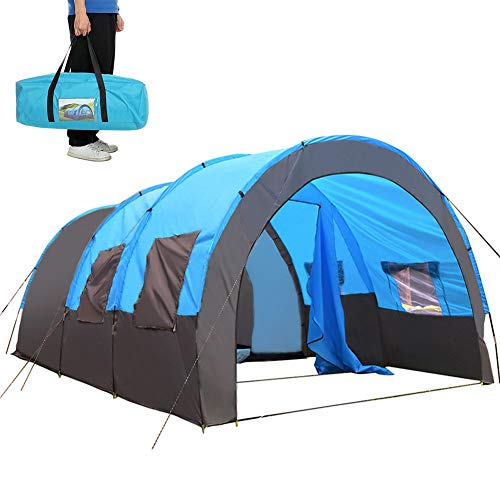 Large Four Person 2 Bedroom Tent, Waterproof Family Tunnel Tent Quick Set Up Camping Tents Rainproof Hiking Tent Large Communal Area Sun Shelters Backpacking Tents for Outdoor Activities (Blue)