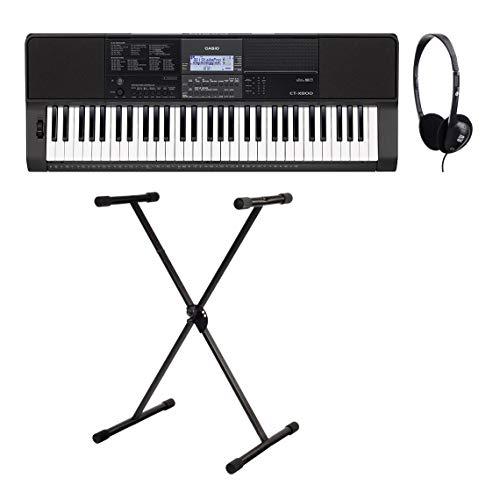 Casio CT-X800 - Set tastiera compatta con 61 tasti, Pitch Bend Rad, funzione Lesson, registratore MIDI e USB, con supporto per tastiera e auricolari, colore: Nero