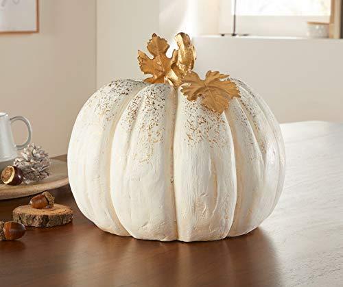 Deko-Kürbis White weiß + Gold, Ø 25 x 22 cm, Herbstdeko, Halloweendeko