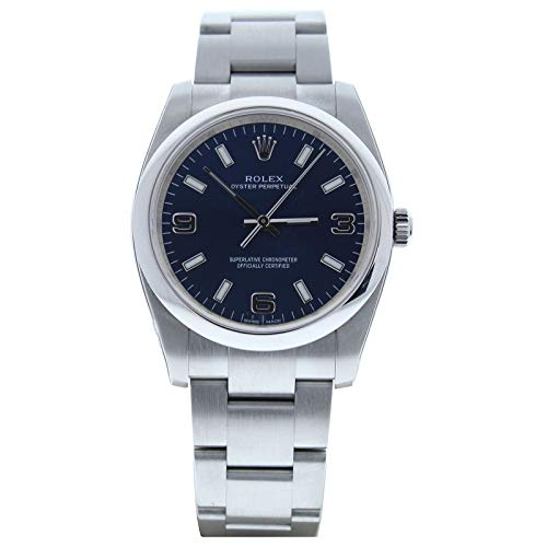Rolex-Mens-34mm-Airking-Model-114200-Blue-Face-Smooth-Bezel-Certified-Preowned