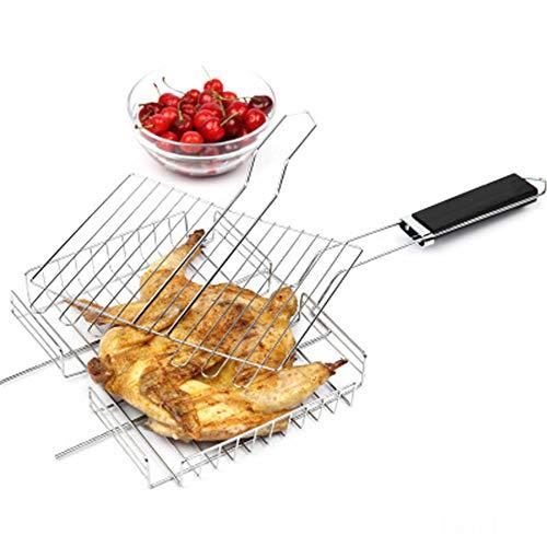 H2okp-009 Edelstahl Rechteck BBQ Grill Outdoor Camp Tragbare Grillnetz Rack mit Griff Handlich für den Außenbereich Silver