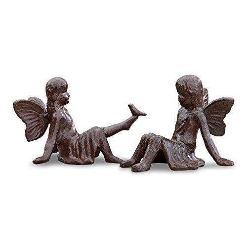 Loberon Deko-Figur 2er Set Papille, Eisen, H/B/T ca. 9,5/12 / 10 cm, antikbraun