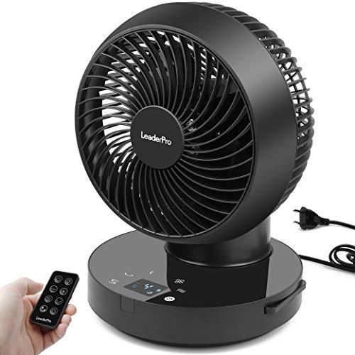 Ventilator 360° - Tischventilator mit Fernbedienung und Ventilator Leise Luftzirkulation,Tastbildschirm/4 Windstärken/36W Schwarz…