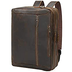 "TIDING Leather Convertible 17.3"" Backpack Laptop Messenger Bag."