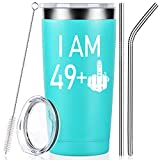 49 + One Middle Finger, 50th Birthday Present for Women Men, Funny Gifts for Her Wife Mom Coworkers Best Friends, Party Anniversary Decorations Supplies, Wine Tumbler Cup with Lid and Straw