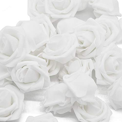 Warmiehomy Foamrosen Schaumrosen Schaumköpfe Künstliche Blume Brautstrauß 50 Stück DIY Foam Rosen Ideal für Hochzeit, Partys, Zuhause, Garten, Büro Dekoration (Weiß)