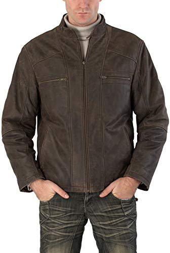 BGSD Men's Ethan Distressed Brown Leather Motorcycle Jacket X-Large