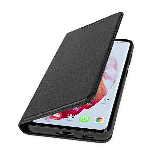 WIIUKA Hülle für Samsung Galaxy S21, Lederhülle mit Kartenfach, extra Dünn, Premium Leder, Handyhülle mit Standfunktion, Schwarz