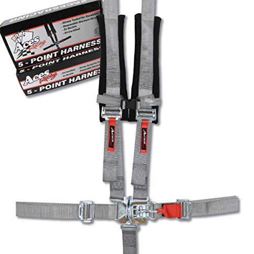 Aces Racing 5 Point Harness with 2 Inch Padding E4 Certified (Silver)