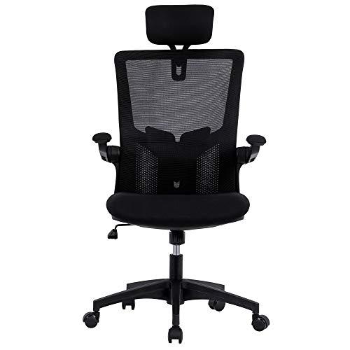 Belissy 3D Armlehnen, Ergonomischer Bürostuhl, Chefsessel mit 3D verstellbare Armlehne und Lendenwirbelstütze, Hautfreundliche Netz-Hochlehne, Schreibtischstuhl bis 150kg/330LB Belastbar