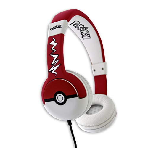 OTL Technologies JUNIOR Kinder Kopfhörer Pokemon Pokeball (gepolsterte Bügel, Lautstärke Begrenzung auf 85 dB, buntes Comic Design, für Jungen und Mädchen) Rot/Weiß