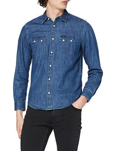 Lee Rider Shirt, Camisa Hombre, Azul (Dipped Blue La), Small