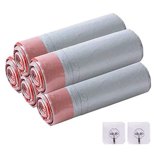 5 rollos de bolsas de basura con cordón, compostables de 15 L, bolsas de basura para el hogar sin perfume y 2 ganchos para papelera de oficina en casa (75 forros)