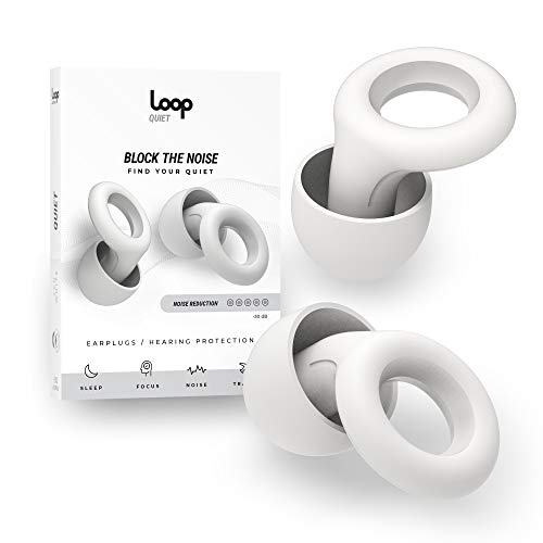Loop Quiet Noise Reduction Earplugs – Super Soft, Reusable Hearing Protection in Flexible Silicone for Sleep, Noise Sensitivity & Flights - 6 Ear Tips in S, M, L – 25dB Noise Cancelling - White