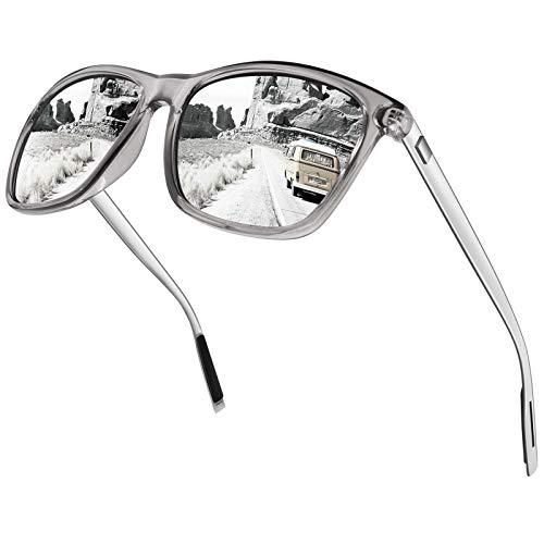 CGID Eckige Retro Sport Designer Klassische Sonnenbrille für Männer und Frauen Polarisierte Sonnenbrille Brille Al-Mg Metall Bügel Ultra Leicht 100% UV400 Schutz Silberne verspiegelte Linse MJ33