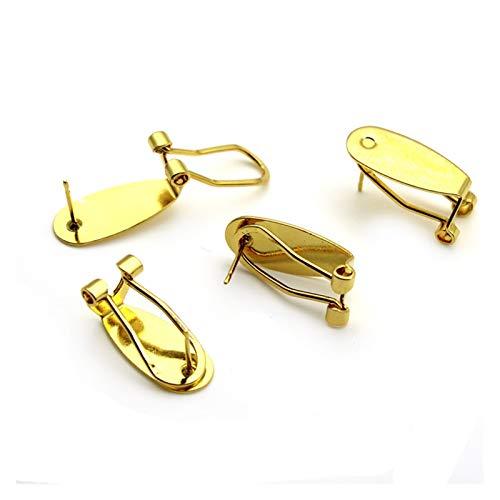 JSJJAQW Haken 10 stücke Kupfer Ohrstecker mit Ohrclips Haken Ohrringe Blanks Cabochons Einstellung Basis (Color : Gold)