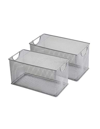 YBM HOME Household Wire Mesh Metal Steel Storage Basket Organizer, Open Bin Shelf Organizer for Kitchen, Cabinet, Pantry, Fruit and Vegetables (2-Pack, 10.75x5.5x6.5) 1134s-2