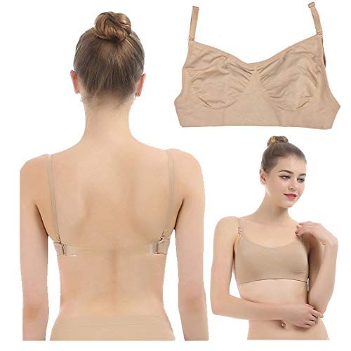 iMucci Professional Beige Clear Back Bra NO Sponge - Seamless Backless Freebra with Adjustable Clear Straps for Ballet Dance Party Child 12-16 Years