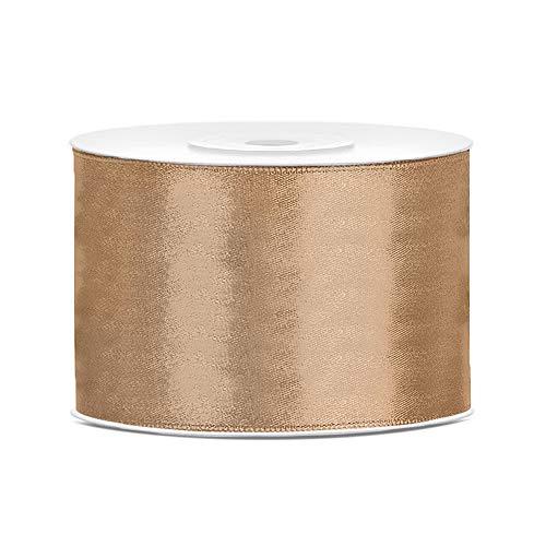 DaLoKu Satinband 6/12/25/38/50/100mm x 25m Geschenkband Schleifenband, Größe: 50mm x 25m, Farbe: Gold