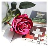 Ramo de flores falsas de 51 cm de largo, hermosas rosas de seda blancas, flores artificiales para decoración de mesa de boda, hogar, organizan flores artificiales (color: rosa rojo)