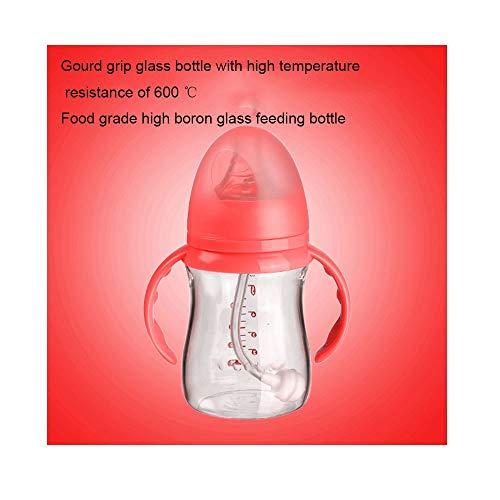 YLL Bebé de Cristal del biberón Amplio diámetro de la Botella de Silicona de Paja 160ml de látex Chupete Libre de BPA (Color : Rosado)