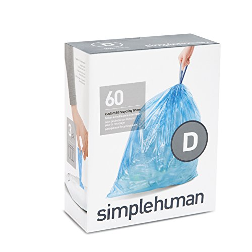 simplehuman Code D Custom Fit Drawstring Recycling Trash Bags, 20 Liter / 5.2 Gallon, 60 Count