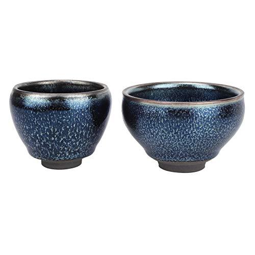 Juego Té Kungfu CeráMica 2 Uds Juego Té Porcelana China Con Gota Aceite Caja Regalo Taza Té Vajilla Japonesa Hecha A Mano (B)