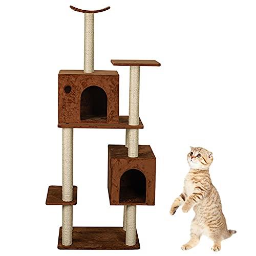 MIAOLEIE Árbol para Gato 61 Pulgadas Gato Torre Mueble con Sisal Rascarse Publicaciones Gatito Actividad Escalada Pararse por Tocar Descansar Dormir