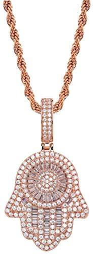 NC110 Vintage Fatima Colgante Hip-Hop Microincrustaciones de circón Chapado en Oro Real 60Cm Collar Personalizado de Cadena Larga Adecuado para Hombres Mujeres Oro Rosa