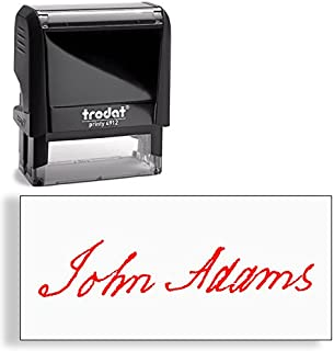 Custom Signature Stamp, Upload Your Own Signature Self-Inking Stamp (Red)