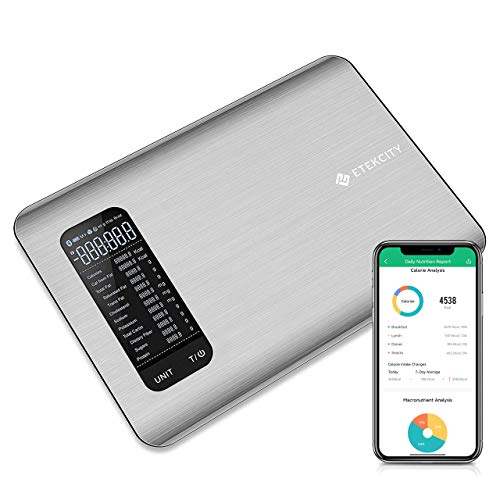 Etekcity Smart Scale, Digital Kitchen Nutrition Grams and Oz for Keto, Weight Loss, Baking and Cooking, Bluetooth, Large, Food-grade Stainless Steel