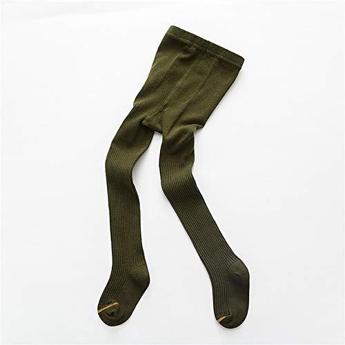 GLBS Stripe Enfant Printemps Fille Bébé Collants Automne Hiver Gardez Chaud du Nouveau-né Collants Coton Enfant en Bas Âge Confortable Leggings Bébé for L'âge 1-7 Ans (Color : Army Green, Size : M)