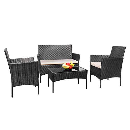 Greesum GS-4RCS0BG 4 Pieces Patio Outdoor Rattan Furniture Sets, Black and Beige