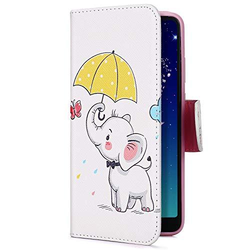 Uposao Kompatibel mit Handyhülle iPhone XS Max Handy Tasche Bunt 3D Muster Brieftasche Ledertasche Klapphülle Leder Flip Case Cover Klappbar Lederhülle mit Kartenfach,Elefanten
