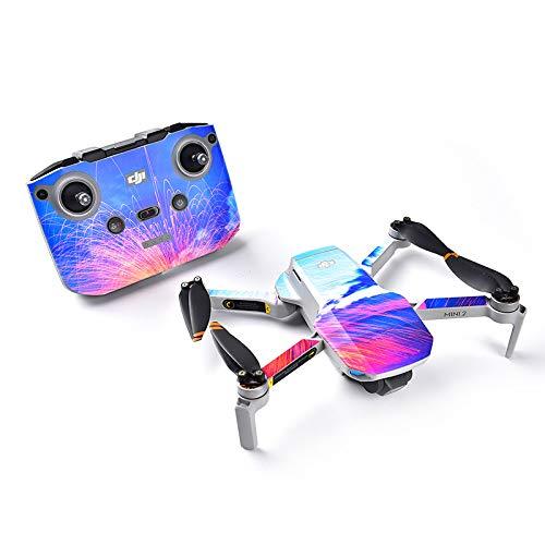 Linghuang Drone Decal - Adhesivo antiarañazos, impermeable, diseño para DJI Mavic Mini 2 Drone y mando a distancia impermeable, piel de PVC (tipo 3)