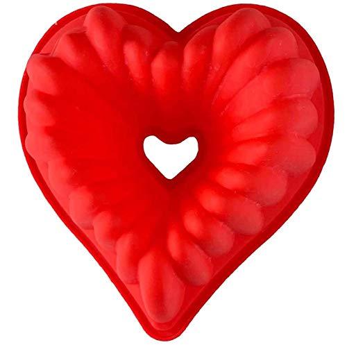 Herzförmige Kuchenform, Antihaft-Silikon-Herzform, Backform, Brotform, DIY, 22,9 x 21,6 x 8,5 cm, Rot