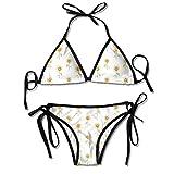 Sistemas del Bikini para Mujer Impresos Flor del Sol floreciente, Traje de baño de la Playa del Traje de baño del triángulo