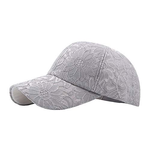 LHZUS Sombreros Gorra de béisbol Mujeres Primavera Hombres algodón al Aire Libre Gorra de Seda Bordado Flor Casquillo del Deporte Ocasional (Color : Gris, Size : 56-60CM)