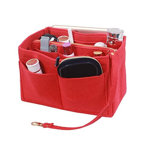 SheYang Tragetasche Shaper, passend für LV Speedy, Longchamp, Tote & Portemonnaie, Filztasche, Organizer mit Reißverschluss, Handtasche, Rot (rot), Large