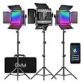 GVM LED Videoleuchten mit Stativ, RGB Videobeleuchtung mit APP-Steuerung, CRI97...