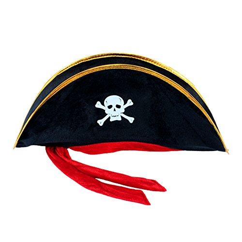 Fazeer Halloween Piratenhut Mit Rotem Seil Cosplay Prop Kostümzubehör Für Erwachsene Kinder Kleinkinder (schwarz 48 X 19 cm)