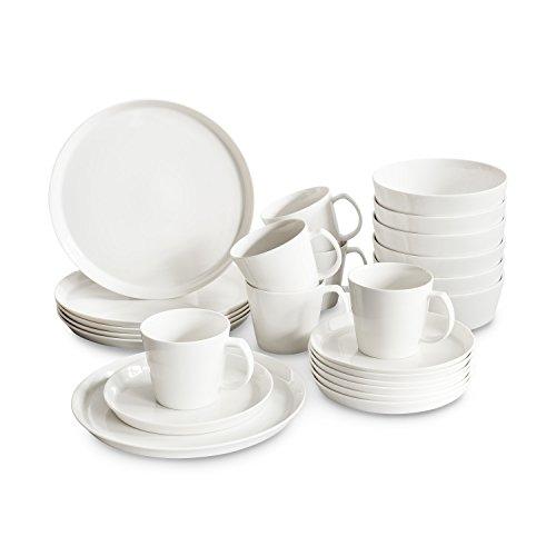 Porzellan Geschirrset Svea, Hochwertiges rundes Geschirr-Set in weiß für 6 Personen aus Fine Bone Porzellan, modernes skandinavisches Design für stilbewusste Genießer