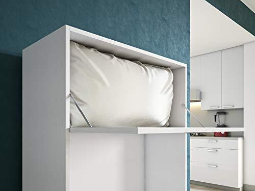 Maconi - Mueble cama Link 539-A de madera de 85 cm - Acabado: blanco venado