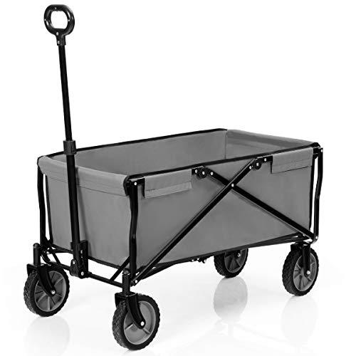 BestBuy キャリーワゴン アウトドアワゴン キャリーカート 大容量 折りたたみ 耐荷重130kg キャンプ 運動会 レジャー 荷物運び (グレー)