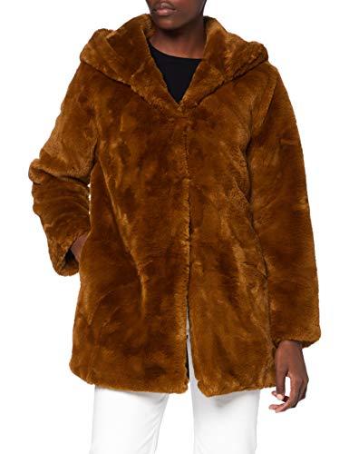 Urban Classics Damen Teddyjacke Plüsch Mantel Fleece-Ladies Hooded Teddy Faux Fur Coat, Toffee, M