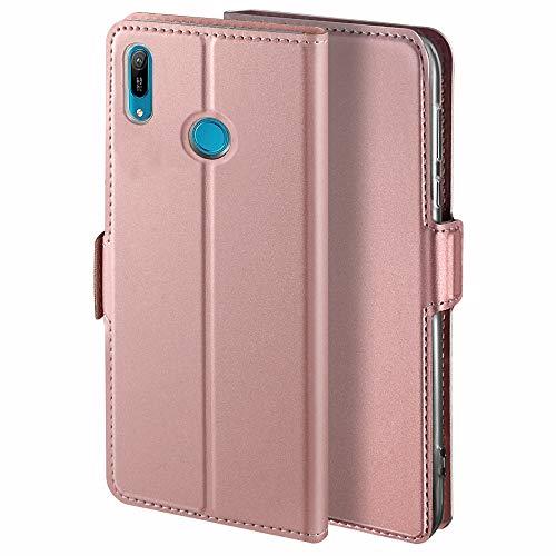 YATWIN Handyhülle für Huawei Y6 2019/Honor 8A Hülle Premium Leder Flip Hülle Schutzhülle für Huawei Y6 2019 Handytasche, Rose Gold