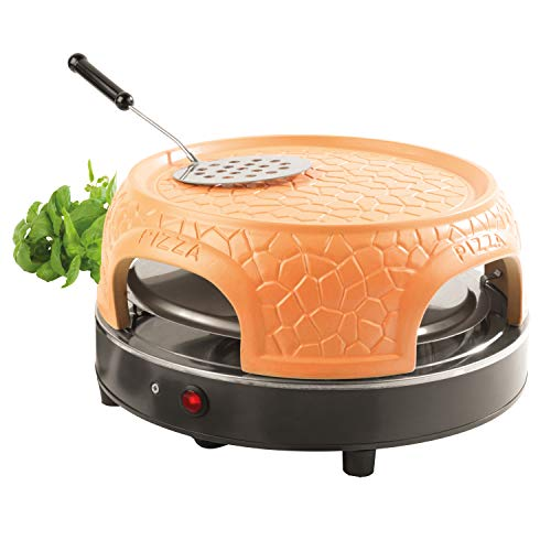 Giles & Posner® EK4025G Family Sharing Pizza Maker with Terracotta Dome | 800 W | Serve up to 4 Mini Pizzas at Once | Power Ready and Indicator Lights
