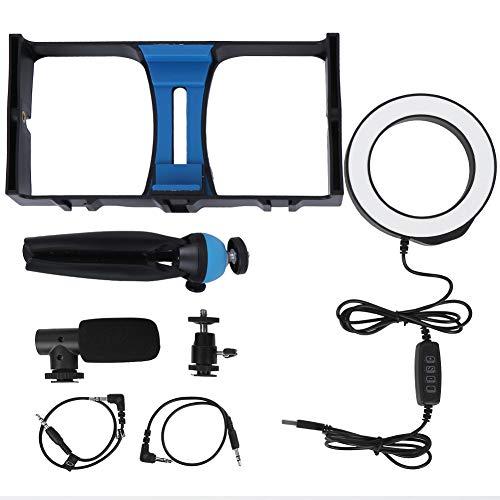 Jaula para teléfono móvil, Kit de estabilizador de aleación de Aluminio Duradero con luz de Relleno, micrófono, trípode, fotografía para teléfono de transmisión en Vivo