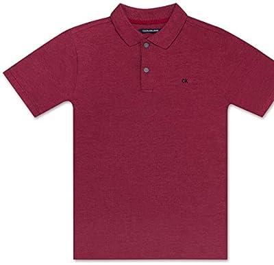 Calvin Klein Boys' Big Solid Pique Polo, Dark red Heather, Medium (10/12)