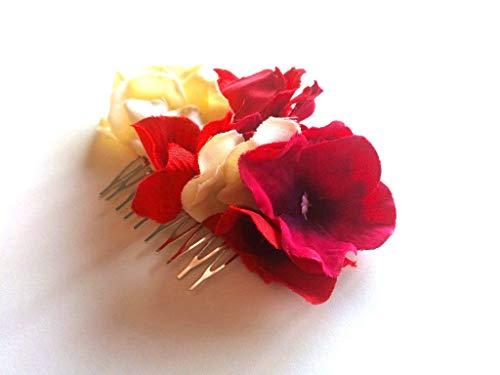Tocado flores rojo, buganvilla y beige